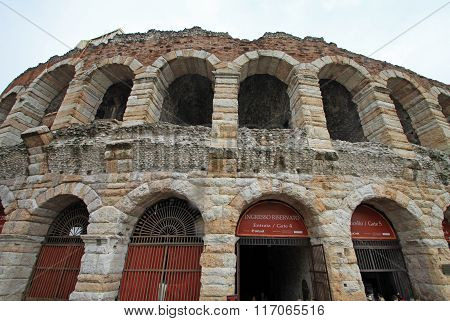 Verona, Italy - September 03, 2012:  Arena Di Verona. Ancient Roman Arena Is Located On The Main Squ