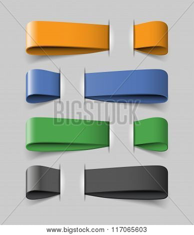 Four colored ribbons with data template for infographics or presentations