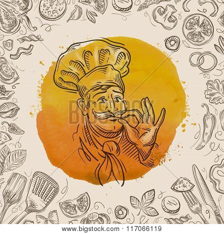hand-drawn sketch of a happy chef and the food. vector illustration