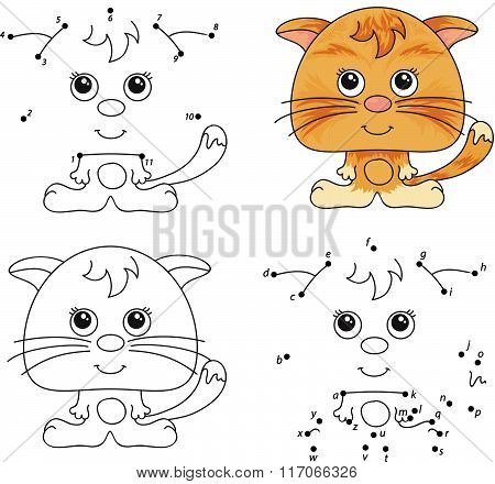 Funny Cartoon Cat. Vector Illustration. Coloring And Dot To Dot Game For Kids