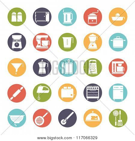 Cooking and Kitchen Vector Icon Collection. Set of 25 kitchen and cooking related icons, negative in colored circles