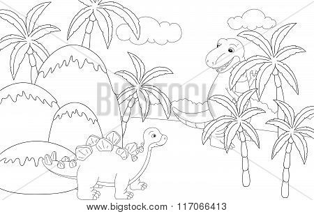 Funny Cute Tyrannosaurus On The Background Of A Prehistoric Nature. Educational Game For Kids. Color