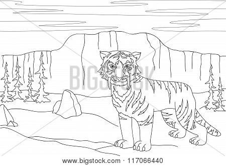 Cartoon Saber-toothed Tiger On The Background Of A Prehistoric Nature. Educational Game For Kids. Co