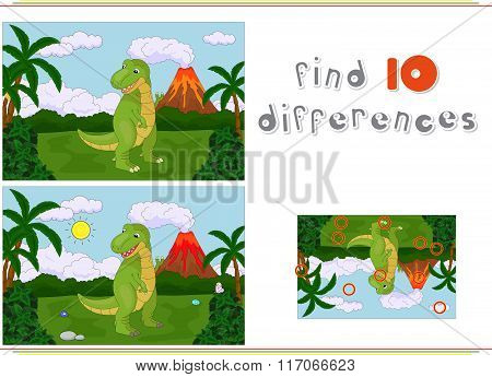 Funny Cute Tyrannosaurus On The Background Of A Prehistoric Nature. Game For Kids: Find Ten Differen