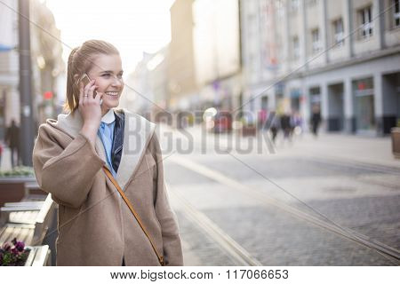 On The Phone During The City Walk