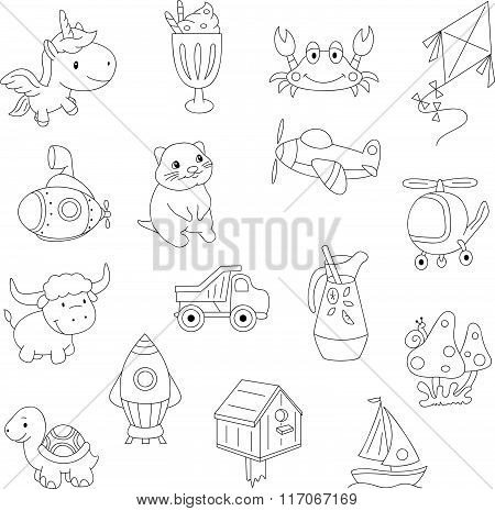 Funny Cartoon Unicorn, Crab, Kite, Submarine, Quokka, Helicopter, Mushroom, Turtle, Rocket
