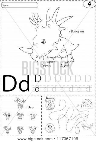 Cartoon Dinosaur, Daisy And Donkey. Alphabet Tracing Worksheet: Writing A-z And Educational Game For