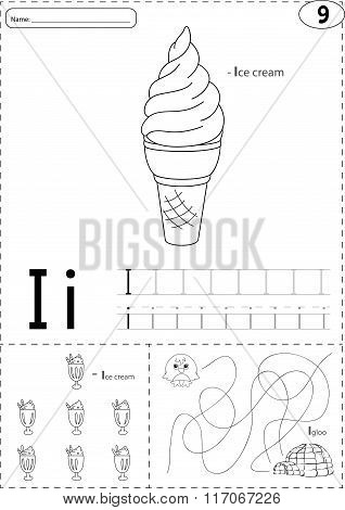Cartoon Ice Cream And Igloo. Alphabet Tracing Worksheet: Writing A-z And Educational Game For Kids
