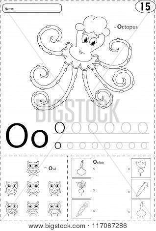 Cartoon Octopus, Owl And Onion. Alphabet Tracing Worksheet: Writing A-z And Educational Game For Kid