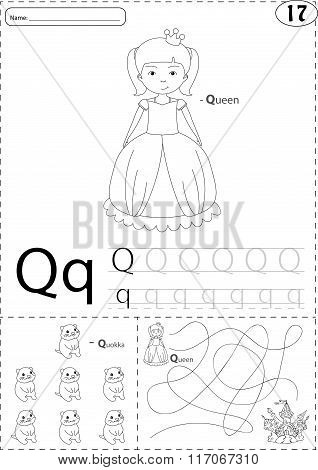 Cartoon Queen And Quokka. Alphabet Tracing Worksheet: Writing A-z And Educational Game For Kids