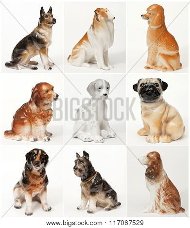 Collage of ceramic statues of dogs. Different breeds of dogs