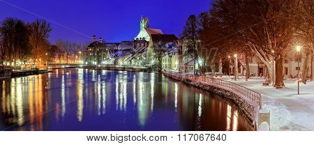 Gothic Town Landshut On Isar River By Munich, Bavaria, Germany