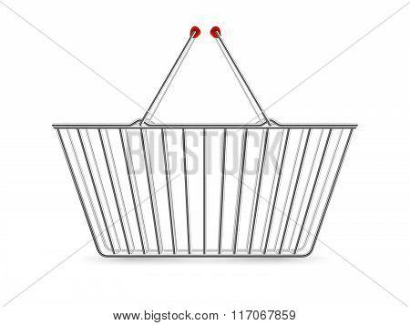 Metallic Shopping Basket Empty Realistic Pictogram