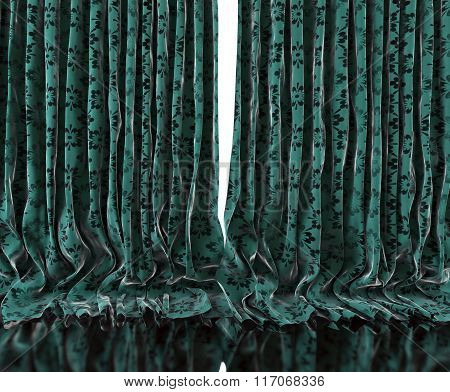 Vintage floral curtains background