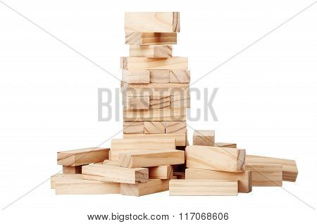 Collapsed Wooden Blocks Tower