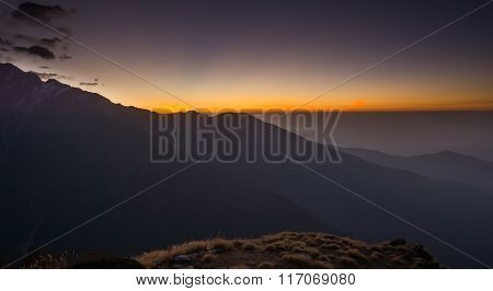 Sunrise Over The Machapuchare (fishtail) In Nepal ,elevation 6993 M