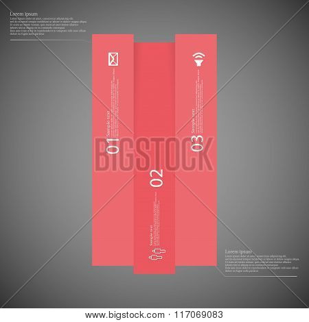 Bar Infographic Template Vertically Divided To Three Red Parts