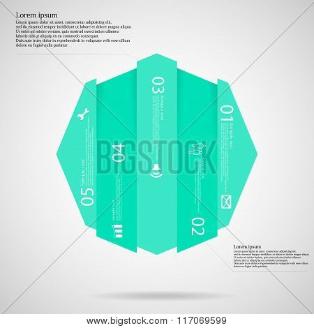 Octagon Infographic Template Vertically Divided To Five Blue Parts