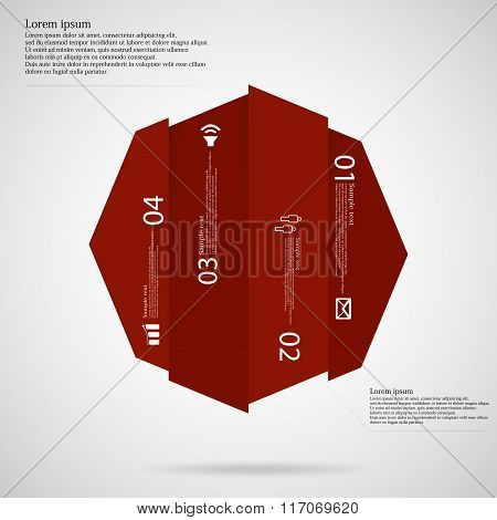 Octagon Infographic Template Vertically Divided To Four Red Parts