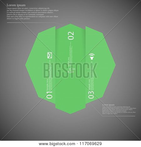 Octagon Infographic Template Vertically Divided To Three Green Parts