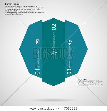 Octagon Infographic Template Vertically Divided To Three Blue Parts