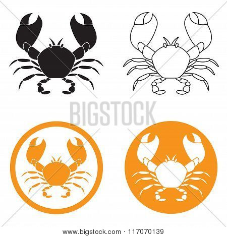 Crab icon set. Seafood design elements. Vector illustration.