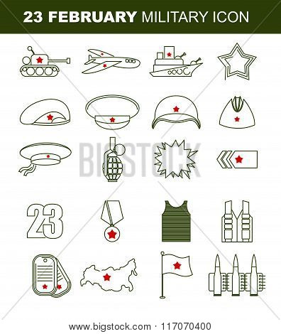 23 February. Day Of Defenders Of Fatherland. Patriotic Holiday In Russia. Linear Set Of Icons On Mil