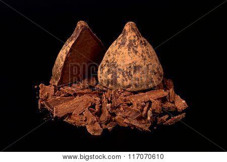 Chocolate Truffles On A Black