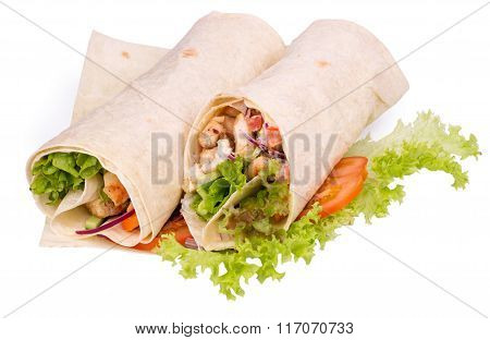 Shawarmas On Lettuce Isolated