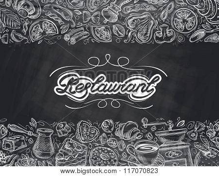 restaurant. food and drink hand drawn. vector illustration