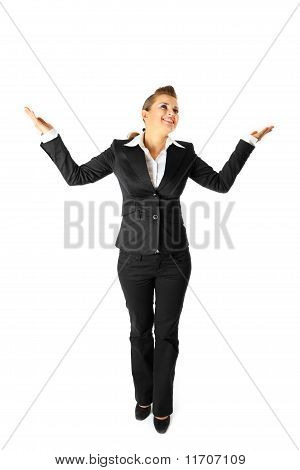 Full length portrait of pleased business woman isolated on white