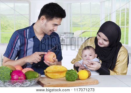 Asian Family Cooking Together