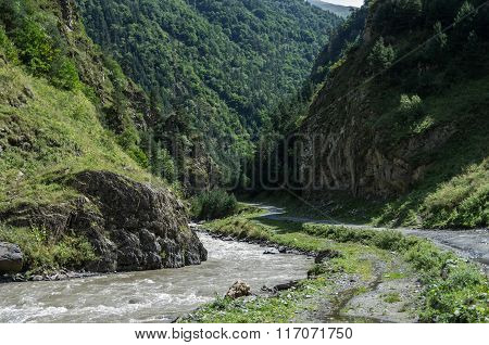 Caucasus Mountains, Canyon Of Argun River And Road To Shatili, Gorgia, Europe