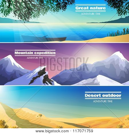 Camping Landscapes 3 Flat Banners Set