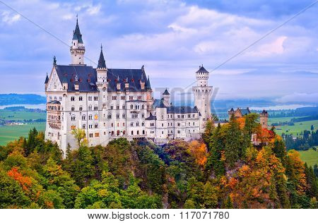 Castle Neuschwanstein In Bavarian Alps In Early Morning Light