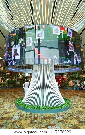 SINGAPORE - NOVEMBER 04, 2015: The Social Tree at Changi Airport. The Social Tree is avant-garde memory capsule, Changi's largest interactive installation