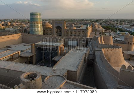 Khiva, Uzbekistan - 1 May 2015: Panorama Of Old Sity In Sunset