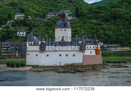 Medieval Castle Burg Pfalzgrafenstein  At Rhine River Valley, Near Kaub, Germany