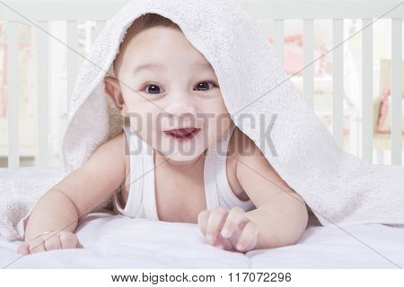 Cute Baby Try To Crawl Under A Towel