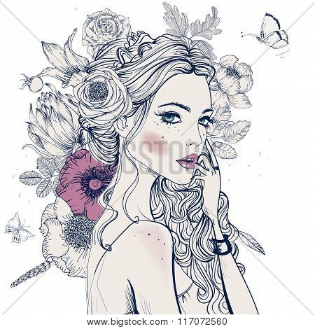 young beautiful woman wirh flowers