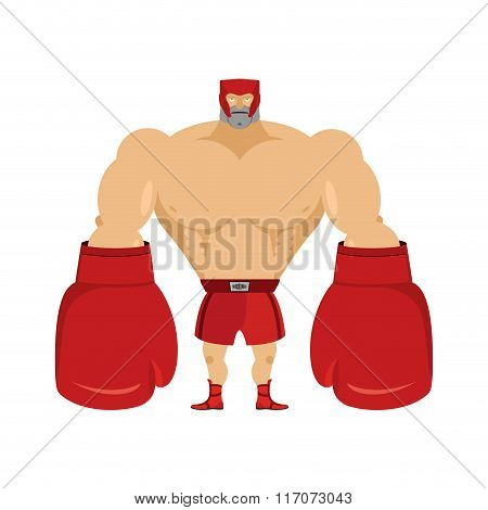 Boxer. Athlete In Protective Helmet. Strong Man In Big Boxing Gloves. Giant Red Boxing Gloves. Boxin