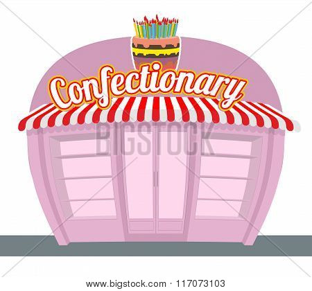 Confectionary Shop. Sweets Shop. Signage Celebratory Cake. Fun Sweets And Cakes Bakery In  Rear. Con