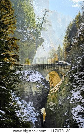 Bridge Over Viamala Gorge In Swiss Alps, Switzerland