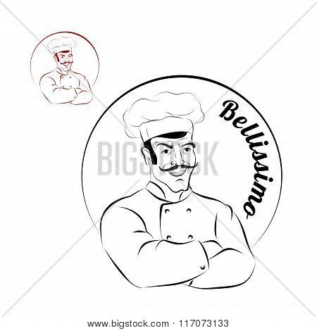 Italian Chef. Logo For Restaurant. Bellissimo. Sign For A Bakery Or Cafe. Chef With Crossed Hands. P