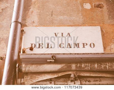 Via Del Campo Street Sign In Genoa Vintage