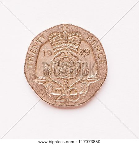 Uk 20 Pence Coin Vintage