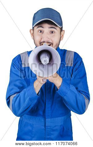 Mechanic Is Shouting With Megaphone