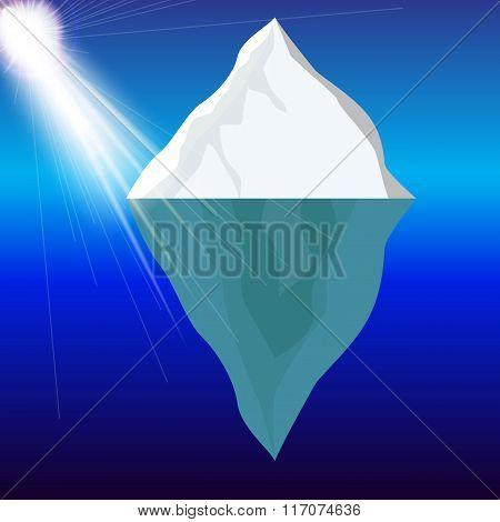 Cold Iceberg in Ocean Under Sun Shine. Vector Illustration.