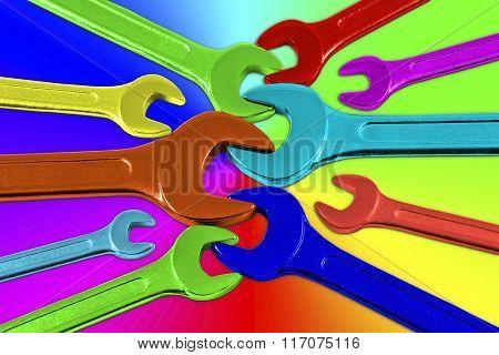 Multi-colored keys.