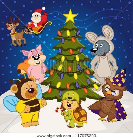 animal around  christmas tree